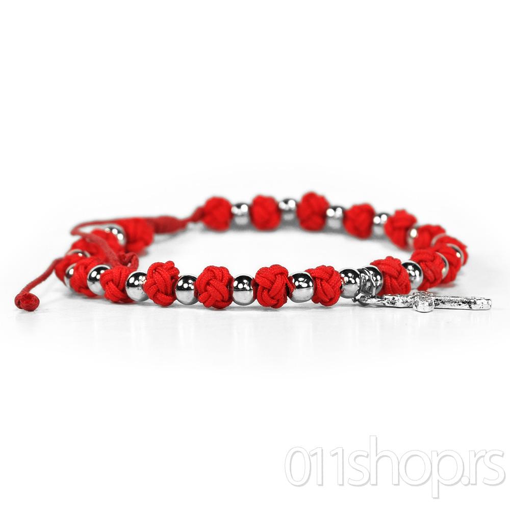 Brojanica sa metalnim perlicama - crvena