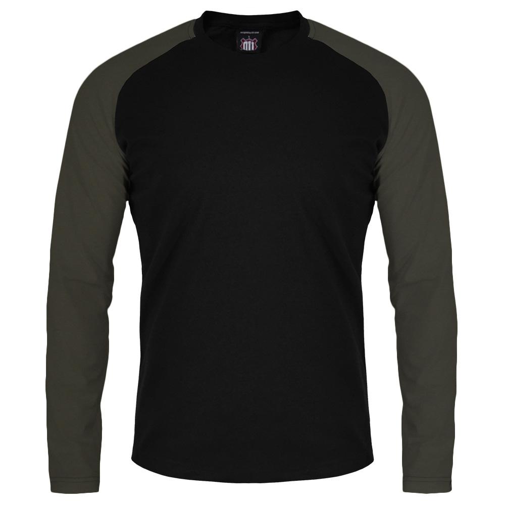 Majica Vintage dug rukav (crno-maslinasta)