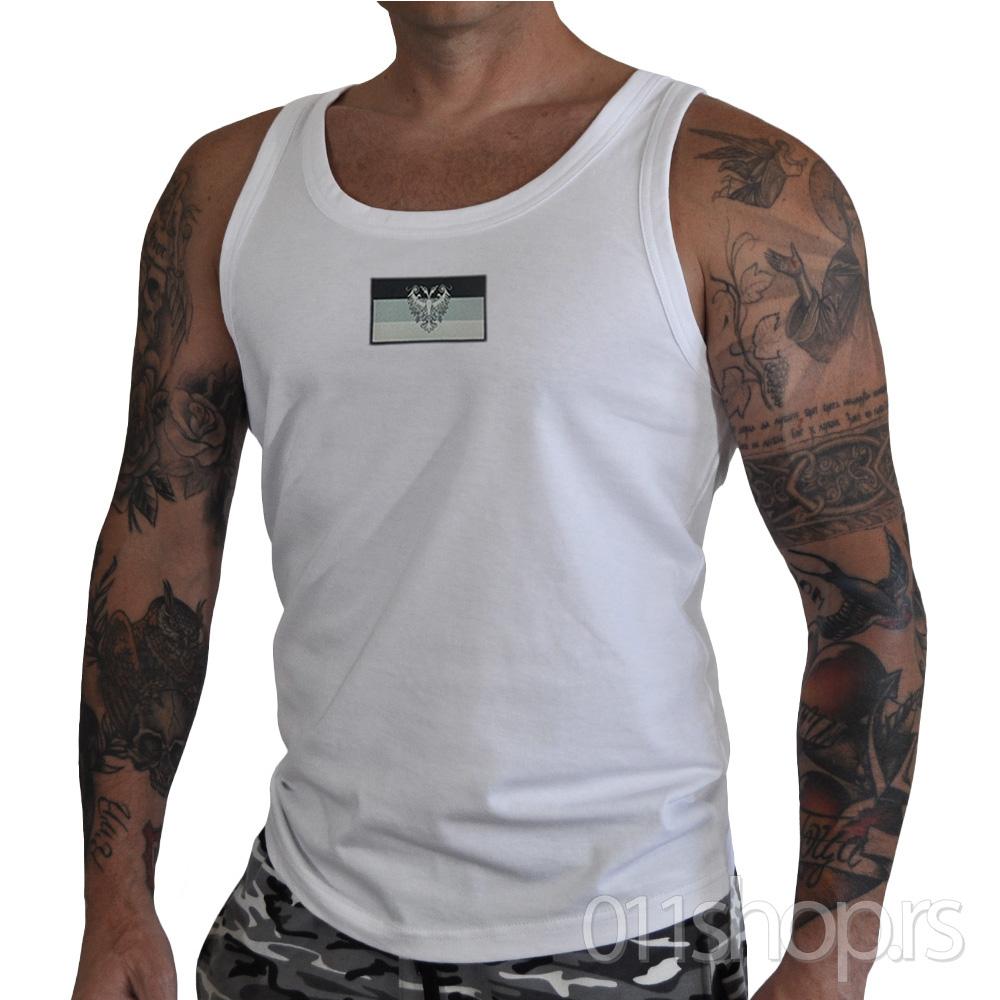Majica Wife Beater zastavica (bela)