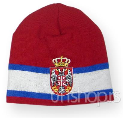 Zimska kapa Srbija (Stripes) - crvena